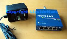 Netgear EN104 4 Puertos Con Bnc, Red Ethernet 10 Base-T Hub Reino unido AC Adaptador PSU