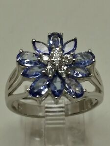 10k White Gold 1.75tcw Natural Tanzanite & .40tcw White Sapphire Ring Size 8