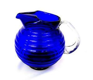 "ELEGANT DEPRESSION GLASS COBALT BLUE BEEHIVE 7 1/4"" ICE LIP PITCHER 1930's"