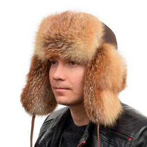 Genuine Men's Red Fox Fur Ushanka Hat II Real Natural Fur Warm Winter Cap Ski