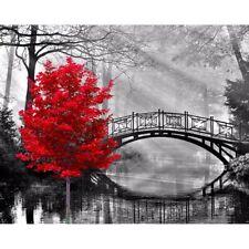 5D Peinture de Diamant Bricolage 'Rouge Tree Bridge' Broderie Complète Diam M7E1