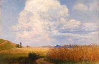 Art Oil painting autumn harvest season with Ripe wheat - field landscape canvas