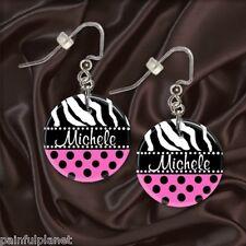 """CUSTOM NAME PINK ZEBRA POLKA DOT  1"""" Button Dangle Earrings  USA Seller"""