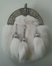 Brand New Boys Full Dress White Rabbit Fur Sporran With Celtic Thistle Cantle