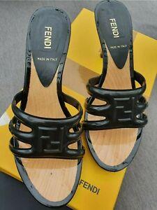 AUTHENTIC FENDI ZOCCOLO 60MM Clogs Black Rubber 37 4 HARVEY NICHOLS £160 Shoes