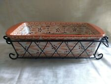 "TEMPTATIONS  OVENWARE ORANGE ""OLD WORLD""  11"" x 6"" Casserole w/ Handled Carrier"
