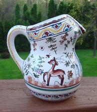 Conimbriga Portugal Pottery Signed Pitcher, Deer, Flowers AC MR Handmade