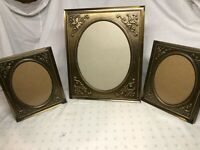 Set Of 3 VTG Matching Ornate Victorian Brass Tone Metal Picture Frames