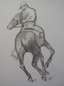 Original pencil drawing after Edgar Degas 'Jockey' on horse on paper