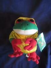 24K-Frog-Culture-1997-Plush Green-TREE-FROG-In-Yellow-Raincoat-Hat New -Old