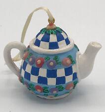 "Mary Engelbreit Collection Mini Teapot Ornament ""Blue Checks"" w/ Flowers Around"