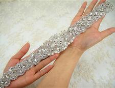 Gorgeous Pearl Rhinestone Bridal Applique Diamante Motif Beaded Wedding Applique