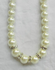 Classic Faux Pearl Necklace with Swarovski Crystal Ring Detail - BNWT