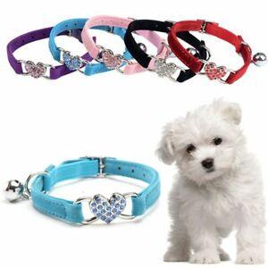 Cute Crystal Puppy Cat Kitty Dog Collar Pet Necklacce Velvet Bell Heart Shape