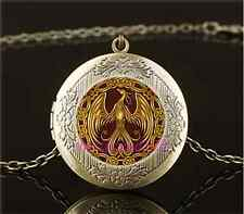 Vintage Gold Phoenix Photo Cabochon Glass Brass Locket Pendant Necklace