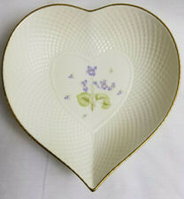 Mikasa Tender Violets Remembrance Candy/Trinket/Relish Heart Dish Plate Gold