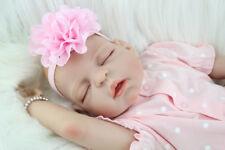 "22"" Full Body Silicone Reborn Baby Doll Girl Soft Vinyl Sleeping Newborn Babies"