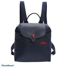 New LONGCHAMP Le Pliage Authentic Mini Backpack Navy w/ Red Trim