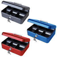 10 Inch Petty Cash Box Metal Security Money Safe Tray Holder Key Lockable Lock