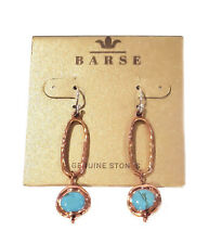 Barse Genuine Copper Turquoise Set Stone Oval Drop Earrings Resoe09tqb
