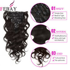 """70g Remy Clip In Real Human Hair Double Weft Body Wave Hair Extensions 14""""-20"""""""