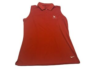 Nike Golf Womens Leewood Sleeveless Red Polo Size L Tour Performance