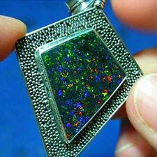 Silver * Electric Gem Colors 37ct Natural Aust Solid Fairy Boulder Opal Pendant