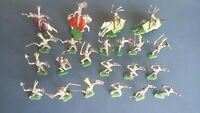 Timpo Crescent type plastic toys Knights x 22 with weapons 4 mounted on Horses