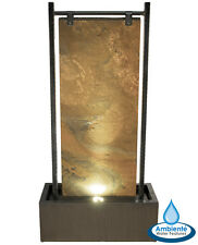 Zinc and Slate Wall Water Feature LED Lights 120cm Silver Outdoor Garden Patio
