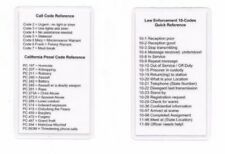 Radio 10 Call Penal Code Codes Reference Card Sheriff Police Marshal