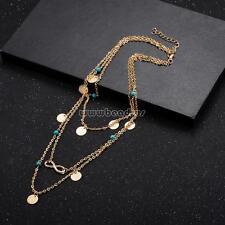 Comeon Women Multi-layer Collar Necklace 3-strand Gold Infinity Pendant Jewelry