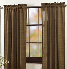 """63"""" L Green Plaid Window Curtains Cotton Lined w/ Tie-Backs Tea Cabin Country"""