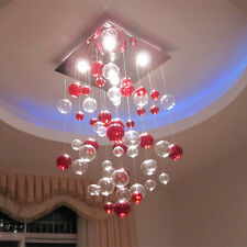 New Glass Transparent Red Bubble Chandelier Ceiling Light Pendant Lamp Lighting