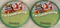 "(2)Disneyland 3"" I'M CELEBRATING Buttons Pin Disney Parks Souvenir Goofy Party!!"