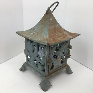 VTG Cast Iron Hummingbird Themed Outdoor Candle Holder