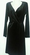 ANNE KLEIN BLACK DRESS LARGE L 14 16 LITTLE BLACK DRESS VELOUR WRAP DRESS NWT