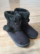 Toddler Girl Black Boots Side Zip, Faux Fur, Tassels Swiggles Sz 9