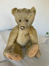 "Antique c1910 17"" Jointed Teddy Bear Brown Mohair Steiff?"