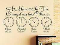 Personalised Kids Birth Date Vinyl Wall Art Clock x 4 Sticker Decal Bedroom q12