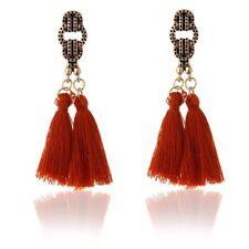 ANTIQUE GOLD RED/ORANGE FESTIVAL TASSLE EARRINGS TASSEL LADIES OR12
