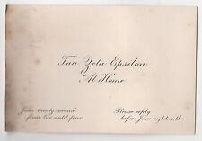 1900s WELLESLEY COLLEGE Tau Zeta Epsilon SORORITY CALLING CARD Massachusetts