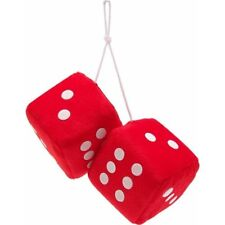 """3"""" Red Fuzzy Dice with White Dots - Pair Vpadicerdw vintage parts usa hot rod(Fits: Hornet)"""