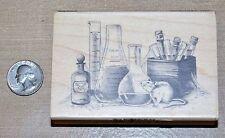 Inkadinkado *Old Laboratory Bottles* Rubber- Wood Mounted Big stamp