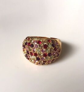 ERICA ANENBERG GOLD PLATED COCKTAIL RING WITH MULTICOLOR GEMSTONES, 8