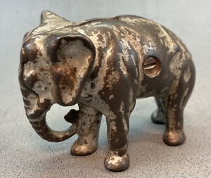 Antique Arcade Cast Iron Elephant Still Penny Bank Circa 1910