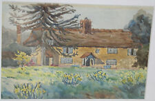 1942 Old Watercolor Painting Eclinnad Farm by Lady Ewart