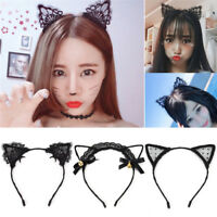 Women Girls Lace Cat Ears Hairband Cosplay Fancy Dress Costume Party Headband FG