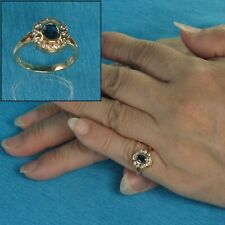 18k Yellow Gold Genuine Diamonds, Natural blue Oval Sapphire Cocktail Ring TPJ