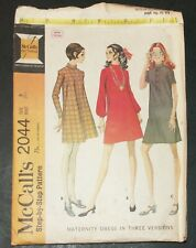 McCalls 2044 Maternity Dress Sewing Pattern Modest Vintage 1969 Size 8 Cut