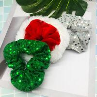 Christmas Scrunchies Women Elastic Sequin Hair Ring Cute Velvet Hair Rope